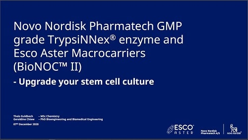 Novo Nordisk Pharmatech GMP-grade TrypsiNNex® enzyme and Esco Aster Macrocarriers (BioNOC™ II)