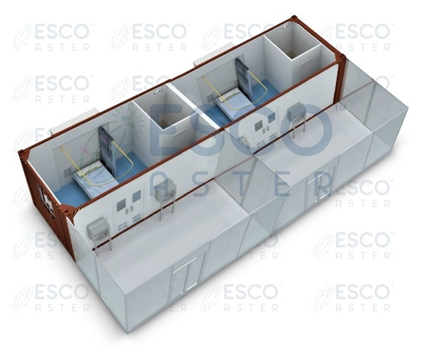 >Isometric View of Esco Modular 40' Container