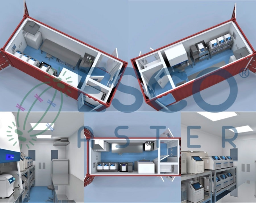 Aster Xpress™ with integrated Streamline Swab Booth in 20' container